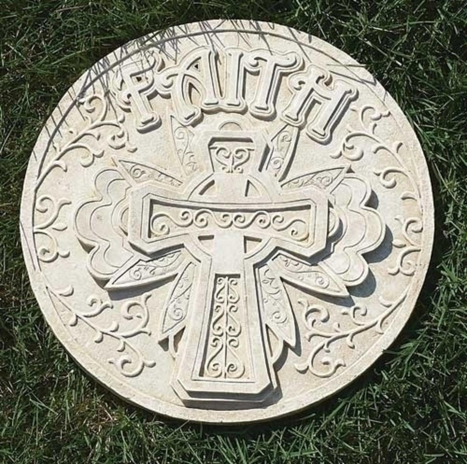 "11.75"" Religious ""Faith"" Scrolling Cross Decorative Round Garden Patio Stepping Stone"