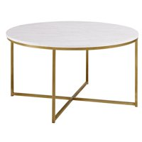 Modern Round White Faux-Marble Coffee Table with Gold Base