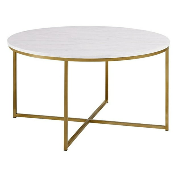 Modern Round White Faux Marble Coffee, Gold Round Coffee Table