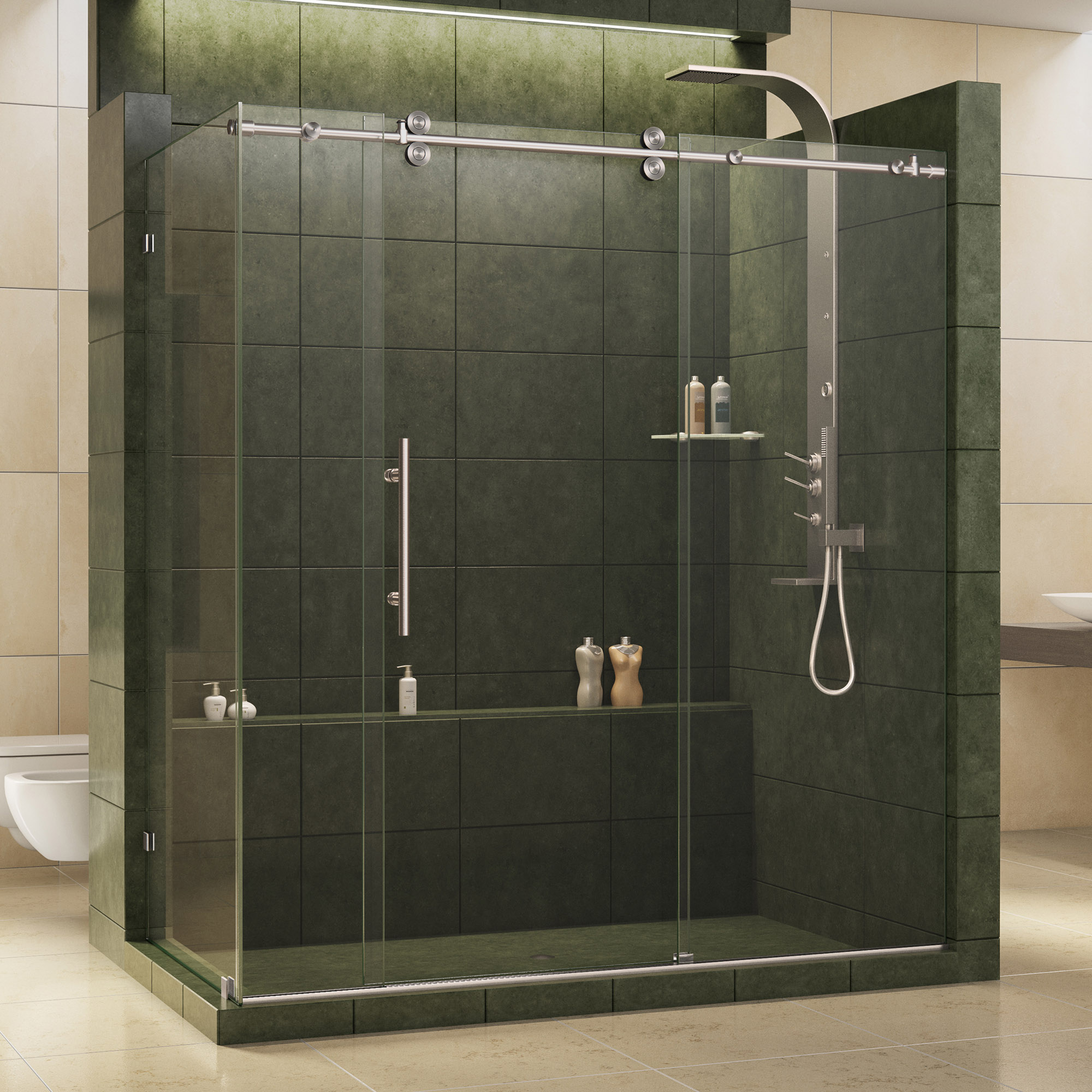 DreamLine Enigma 36 in. D x 68 1/2 - 72 1/2 in. W x 79 in. H Sliding Shower Enclosure in Brushed Stainless Steel, 1/2 in. Glass
