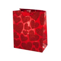 Kole Imports BH424-36 Small Red Glitter Hearts Gift Bag 5, 36 Piece