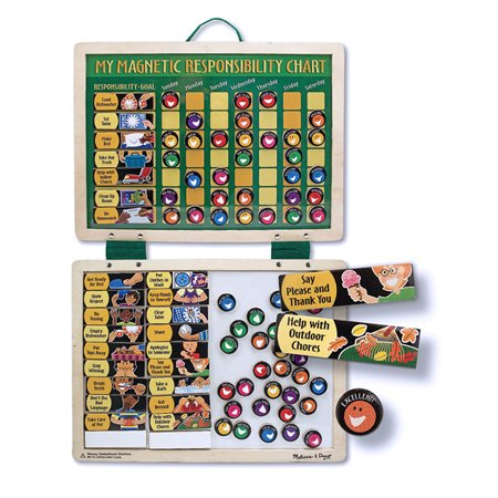 - Melissa & Doug Deluxe Wooden Magnetic Responsibility Chart With 90 Magnets