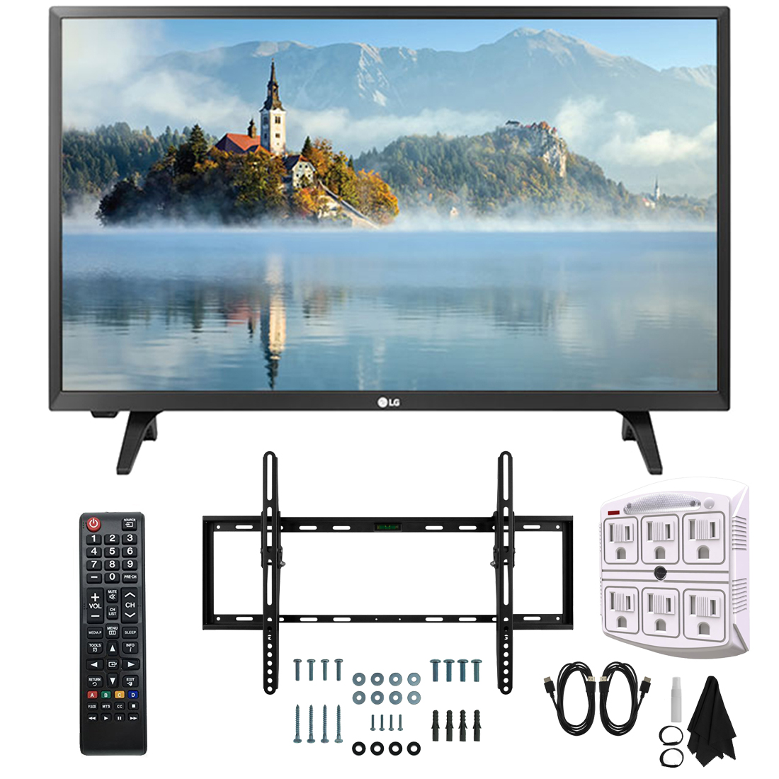 """LG 28LJ430B-PU 28"""" Class HD 720p LED TV (2017 Model) with Slim Flat Wall Mount Kit and 750 Joule 6-Outlet Surge Adapter Ultimate Bundle"""