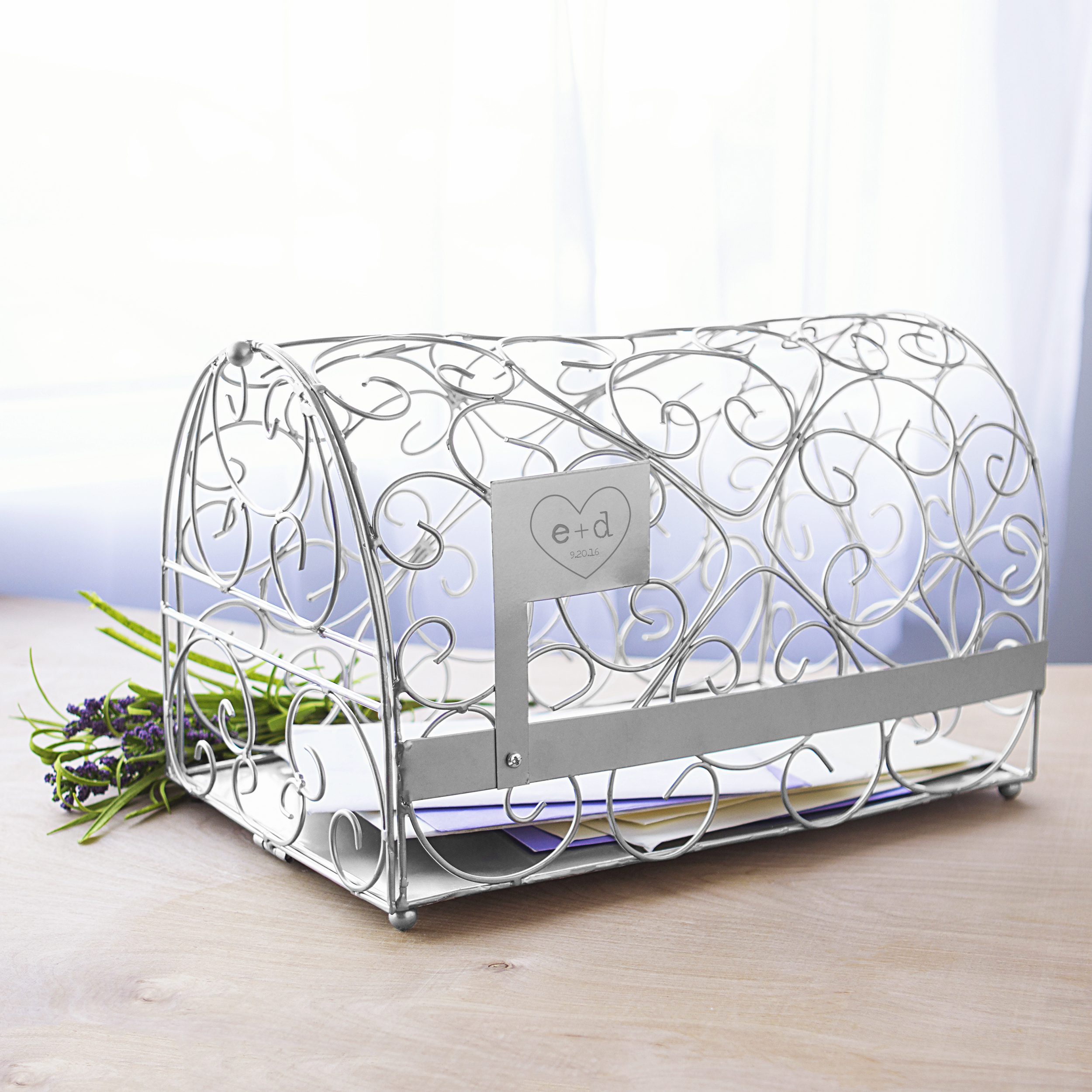 Personalized Silver Heart Reception Gift Card Holder Mailbox