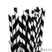 Black Paper Striped Straws (24Pc) - Party Supplies - 24 Pieces