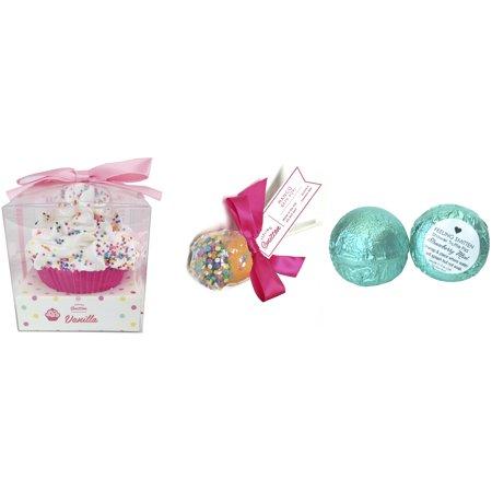 Feeling Smitten Large Vanilla Cupcake Bath Bomb - Strawberry Mint Shower Truffle - Mango Bath Pop](Oreo Truffle Pops Halloween)