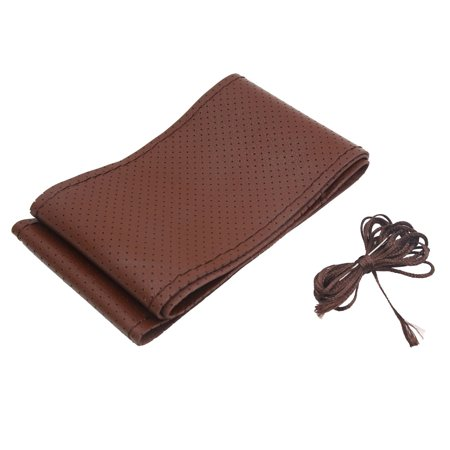 38cm Dia Dark Brown Faux Leather Car Steering Wheel Cover w Needle and Thread Brown Steering Wheel Cover