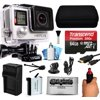 GoPro HERO4 Hero 4 Black Edition 4K Action Camera Camcorder with 64GB Accessory Kit with MicroSD Card, Hand Grip, Extra Battery, Home and Car Charger, Medium Case, HDMI, Cleaning Kit (CHDHX-401)
