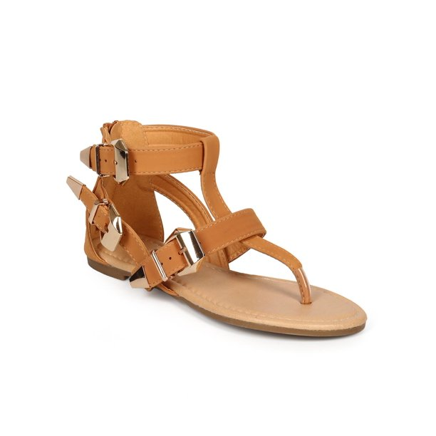 Glaze CI17 Women Nubuck Criss Cross Ankle Buckle Gladiator Thong Sandal