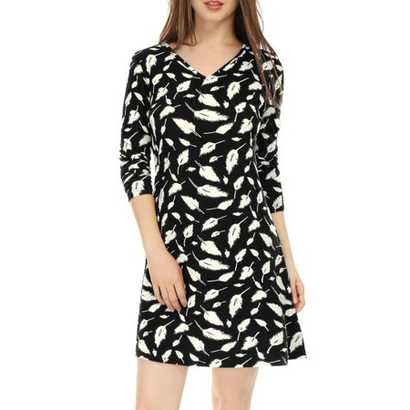 Women V Neck Long Sleeves Feather Print  Dress](Feathers For Dresses)