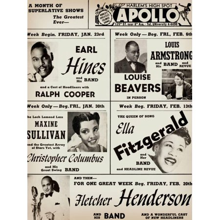 Concert Art (Apollo Theatre: Earl Hines, Louis Armstrong, Ella Fitzgerald, Fletcher Henderson and More Vintage Concert Advertisement Print Wall Art )
