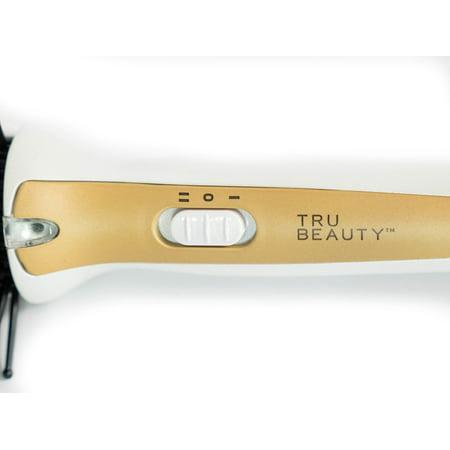 Tru Beauty 2-in-1 Hot Styling Brush, Ionic Tourmaline Barrel, 2 Heat Settings, Swivel Cord - Black/Gold