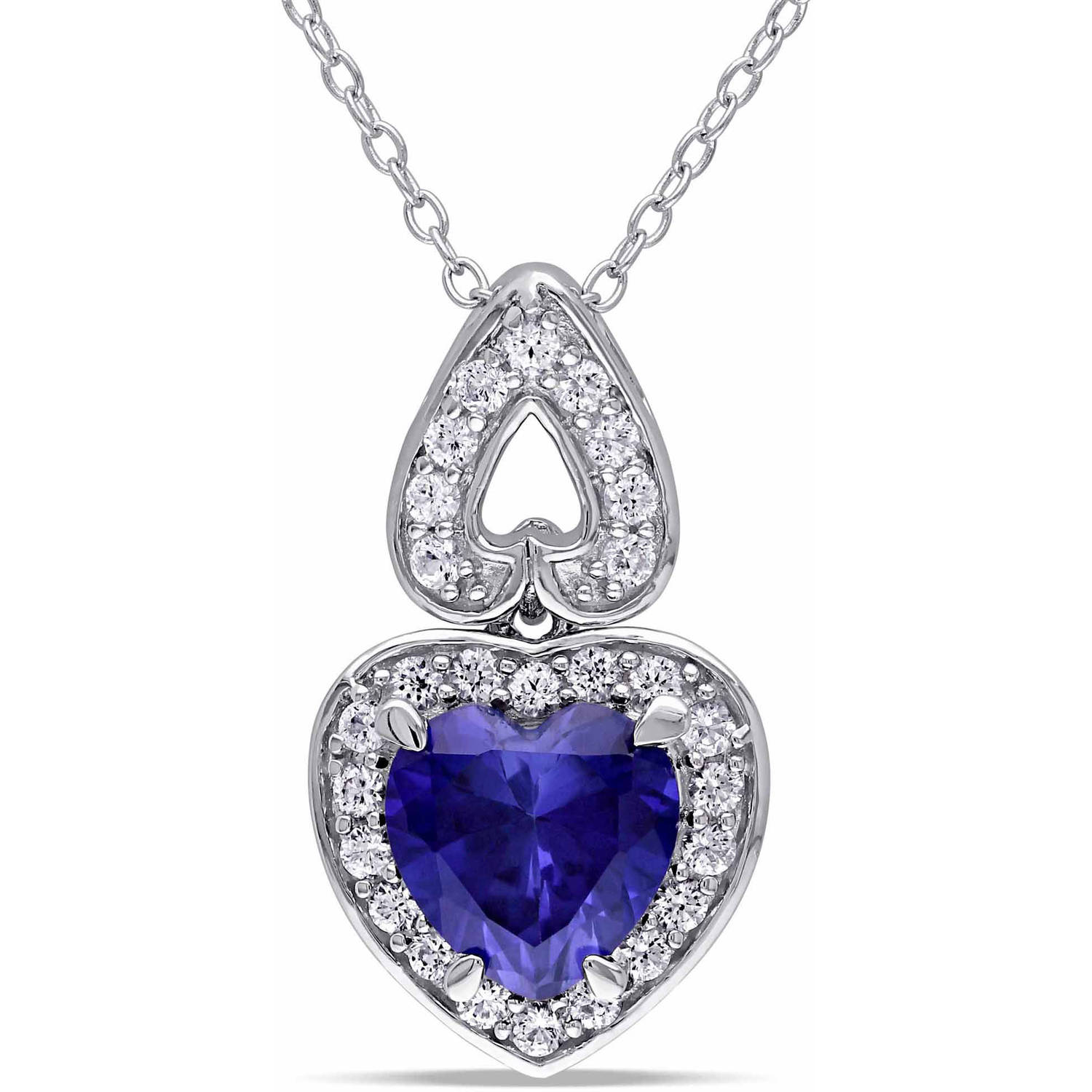 Tangelo 3-1/10 Carat T.G.W. Created Blue and White Sapphire Sterling Silver Halo Heart Pendant, 18""