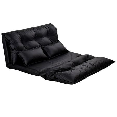 GHP Black Durable & Sturdy Frame PU Leather Stylish Folding Sofa Bed w 2 Pillows