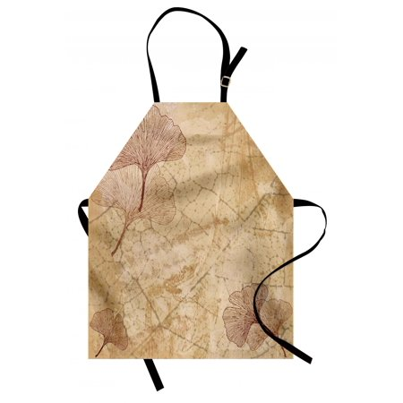 Beige Apron Small Large Ginkgo Leaves Pattern Dramatic Dated Fossil Maidenhair Tree Nature Art, Unisex Kitchen Bib Apron with Adjustable Neck for Cooking Baking Gardening, Beige Brown, by Ambesonne ()