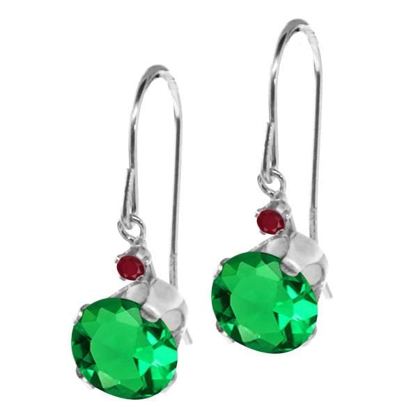 1.58 Ct Round Green Nano Emerald Red Ruby 14K White Gold Earrings