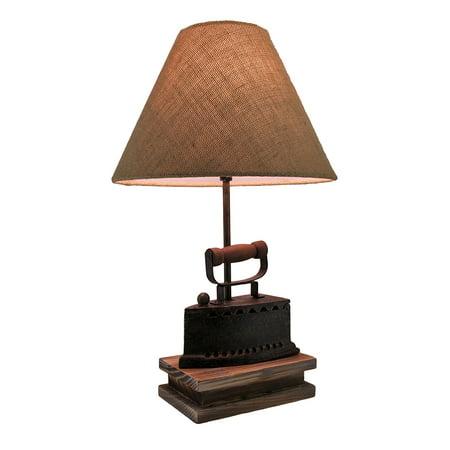 Faux Antique Finish Vintage Flat Iron Table Lamp w/Burlap Fabric Shade 20 (Faux Vintage Antique)