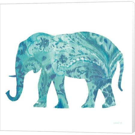 Great Art Now Boho Teal Elephant II by Danhui Nai Canvas Wall Art