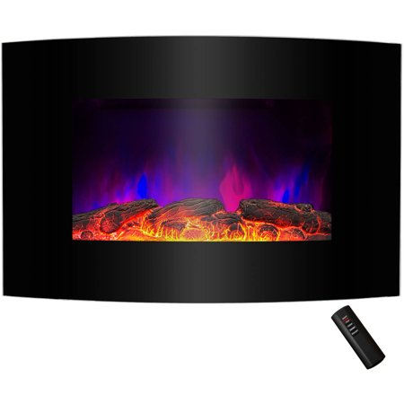 "AKDY FP0046 36"" 1500W Wall Mount Electric Fireplace Heater with Curved Tempered Glass, Pebbles, Logs and Remote Control, Black"
