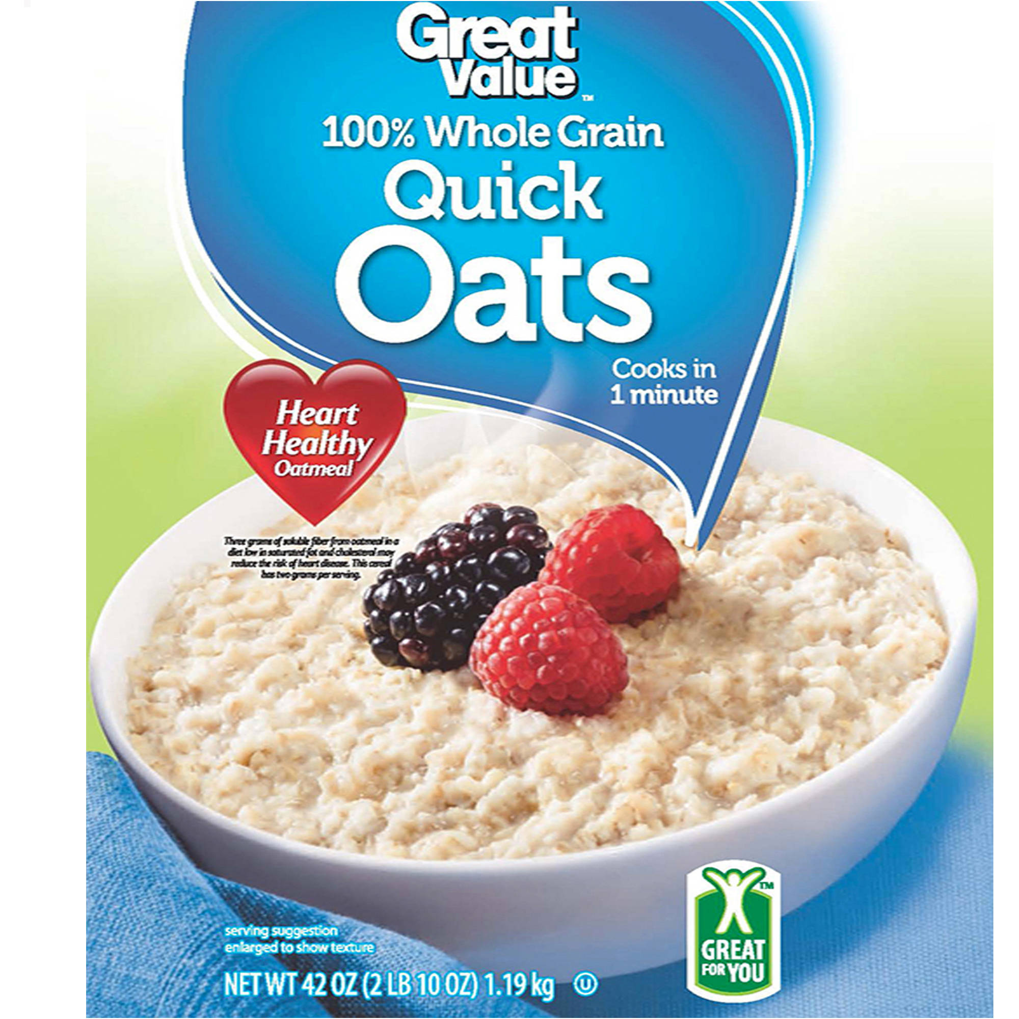 Great Value Oven-Toasted Quick Oats, 42 Oz
