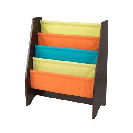 Kidkraft Wooden Sling Shelf Bookcase Bright And Espresso Colors Canvas Solid Pattern Fabric Kids Bookshelf Young Reader Support