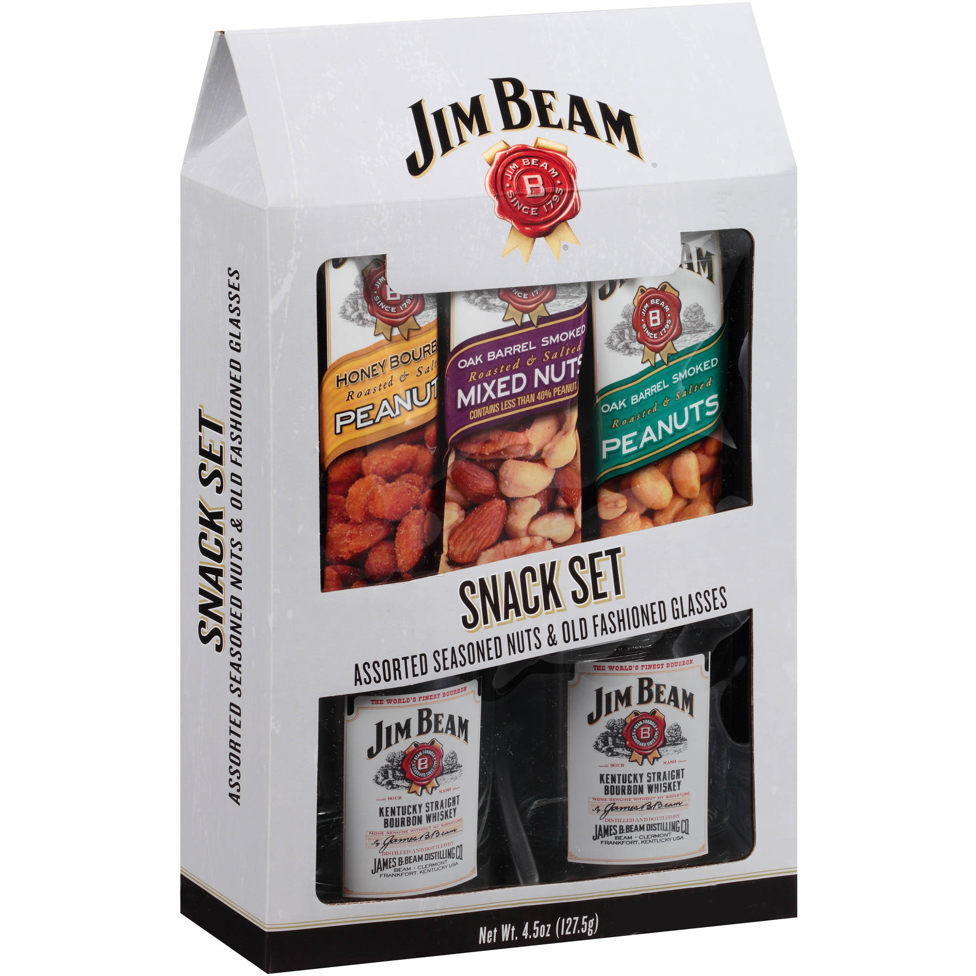 Jim Beam Snack Set Assorted Nuts & Old Fashioned Glasses Gift Set, 5 pc