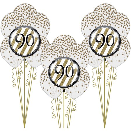 Happy 90th Birthday Balloons (White and Gold 90th Happy Birthday Balloon Kit, 20 Pieces, Includes)