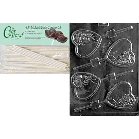 Cybrtrayd 45St25-V114 Heart with Bouquet Lolly Valentine Chocolate Candy Mold with 25 4.5-Inch Lollipop Sticks