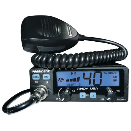 President Andy 12/24-Volt CB Radio with 7 Color LCD