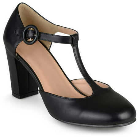 47a7a9046a6 Women's T-strap Chunky Heel Round Toe Classic Matte Pumps