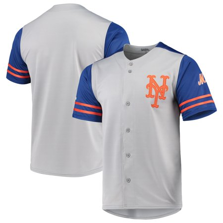 New York Mets Stitches Button-Up Jersey - Gray/Royal