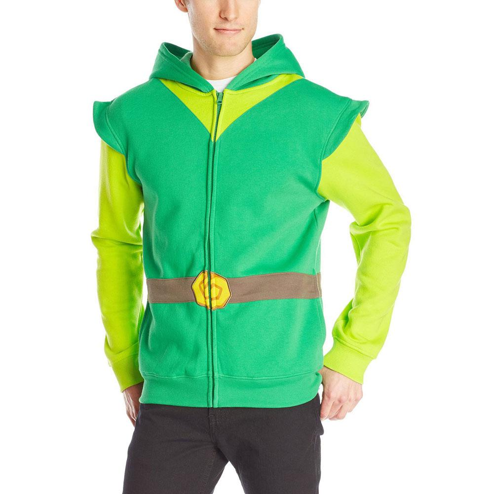 Link Hood Men's Hoodie,Green/Gray,X-Large