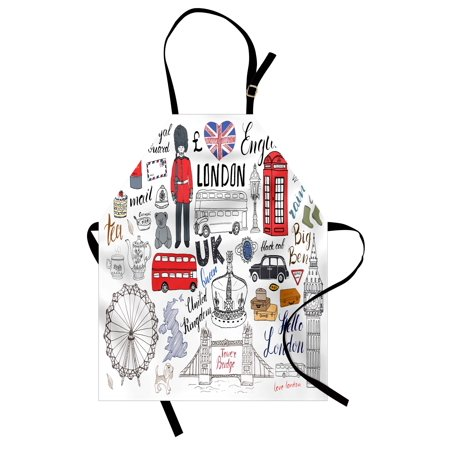 - Doodle Apron I Love London Double Decker Bus Telephone Booth Cab Crown of United Kingdom Big Ben, Unisex Kitchen Bib Apron with Adjustable Neck for Cooking Baking Gardening, Multicolor, by Ambesonne