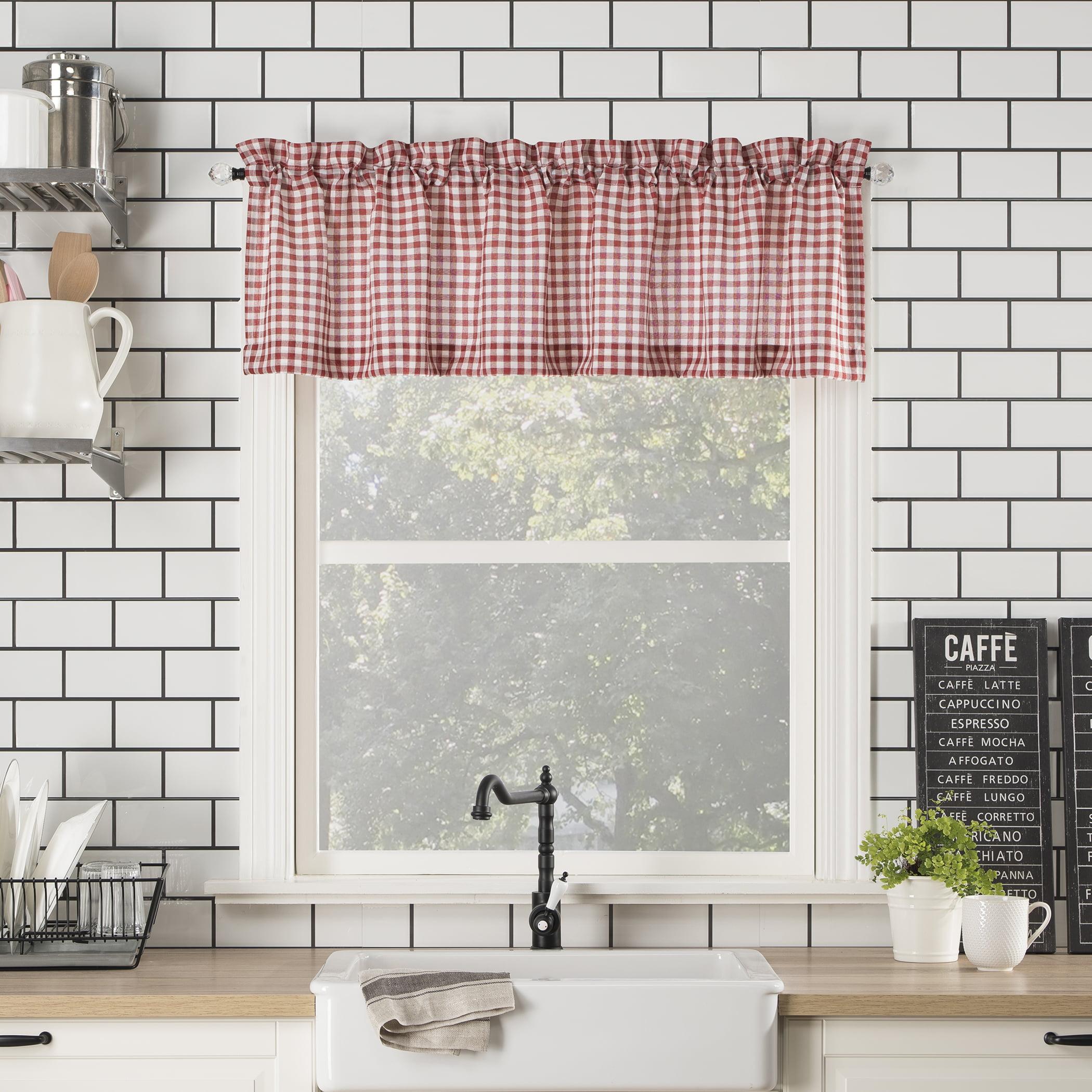 No 918 Parkham Farmhouse Plaid Semi Sheer Rod Pocket Kitchen Curtain Valance Walmart Com Walmart Com