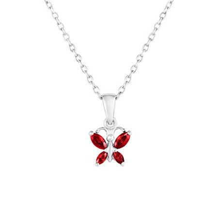 Sterling Silver Butterfly Pendant Necklace with Simulated Birthstone CZ for Girls, 16'' (January) (Butterfly For Girls)