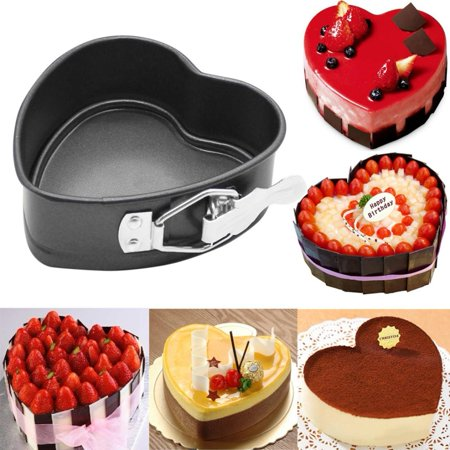 Cake Pans for Baking, Heart Shape Cake Pan,4 Inches Springform Bakeware Pan Non-Stick Mini Cake Pan Leakproof Cheesecake Pan Mould Baking Tools with Removable Smooth Bottom,