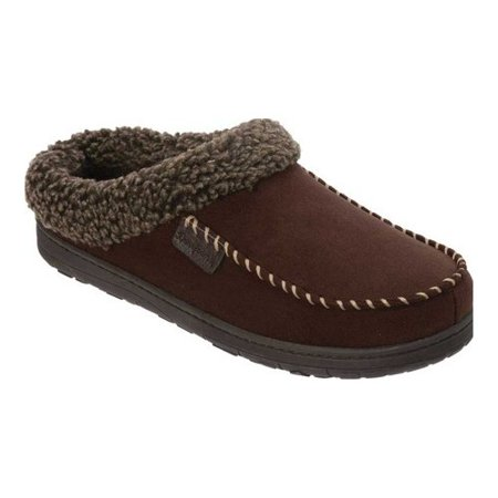 Dearfoams Men's Wide Width Microsuede Moc Toe Clog with Berber Cuff Slippers