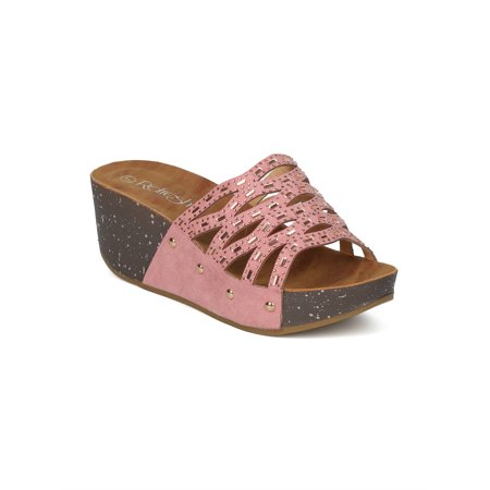 151b0bf844b Women Faux Suede Open Toe Rhinestone Cutout Platform Wedge Sandal GI44 -  Walmart.com