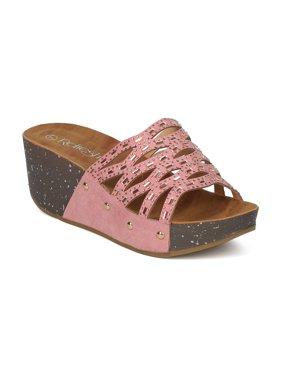 10e502f597c Product Image Women Faux Suede Open Toe Rhinestone Cutout Platform Wedge  Sandal GI44