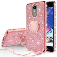 LG Stylo 4 Case, LG Stylo 4 Plus Case, LG Q Stylus Case, SOGA Glitter Diamond Rhinestone TPU Phone Cover with Ring Stand and Lanyard Girls Women Cover (Rose Gold)
