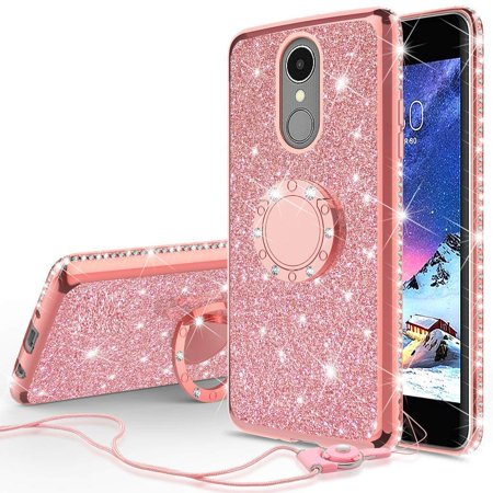 LG Stylo 4 Case, LG Stylo 4 Plus Case, LG Q Stylus Case, SOGA Glitter Diamond Rhinestone TPU Phone Cover with Ring Stand and Lanyard Girls Women Cover (Rose - Case Cover Diamond