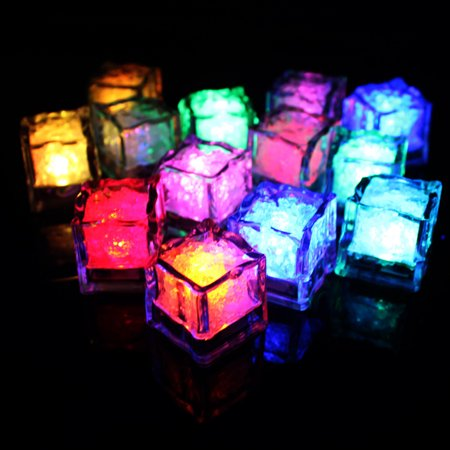 12X LED Flashing Ice Cube Glowing in Water Reuseable Light UP Ice Cubes for Party Wedding Festival Bar Wine Glass Decoration Color:RGB Quick Flashing - Light Up Ice Cubes Wholesale
