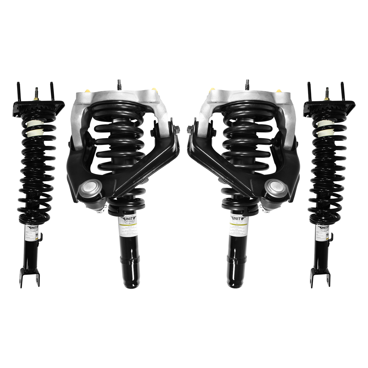 Unity 4-11651-15384-001 Front and Rear 4 Wheel Complete Strut Assembly Kit 1999-2000 Chrysler Sebring (Convertible Only)