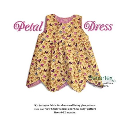 Sweet Petal Dress~A Kit To Make Yourself~ Cotton Fabric by, size 6- 12 months By (Best Fabric To Make A Dress)