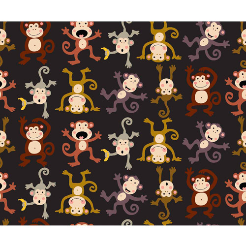 "No Sew Fleece Throw Kit, Monkey See, Black, 48"" Width"