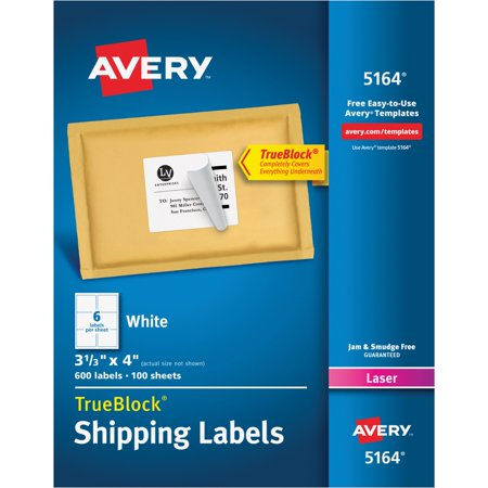 Avery Shipping Labels With Trueblock Technology  Laser  3 1 3 X 4  White  600 Box