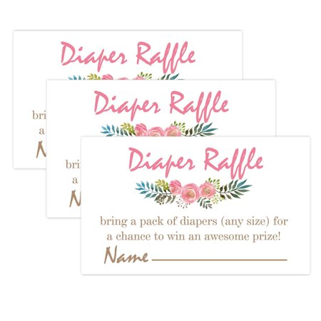 Pink Flowers Diaper Raffle Tickets for Baby Shower Invitation Inserts - 50 Baby Shower Game Cards. - Ticket Invitations