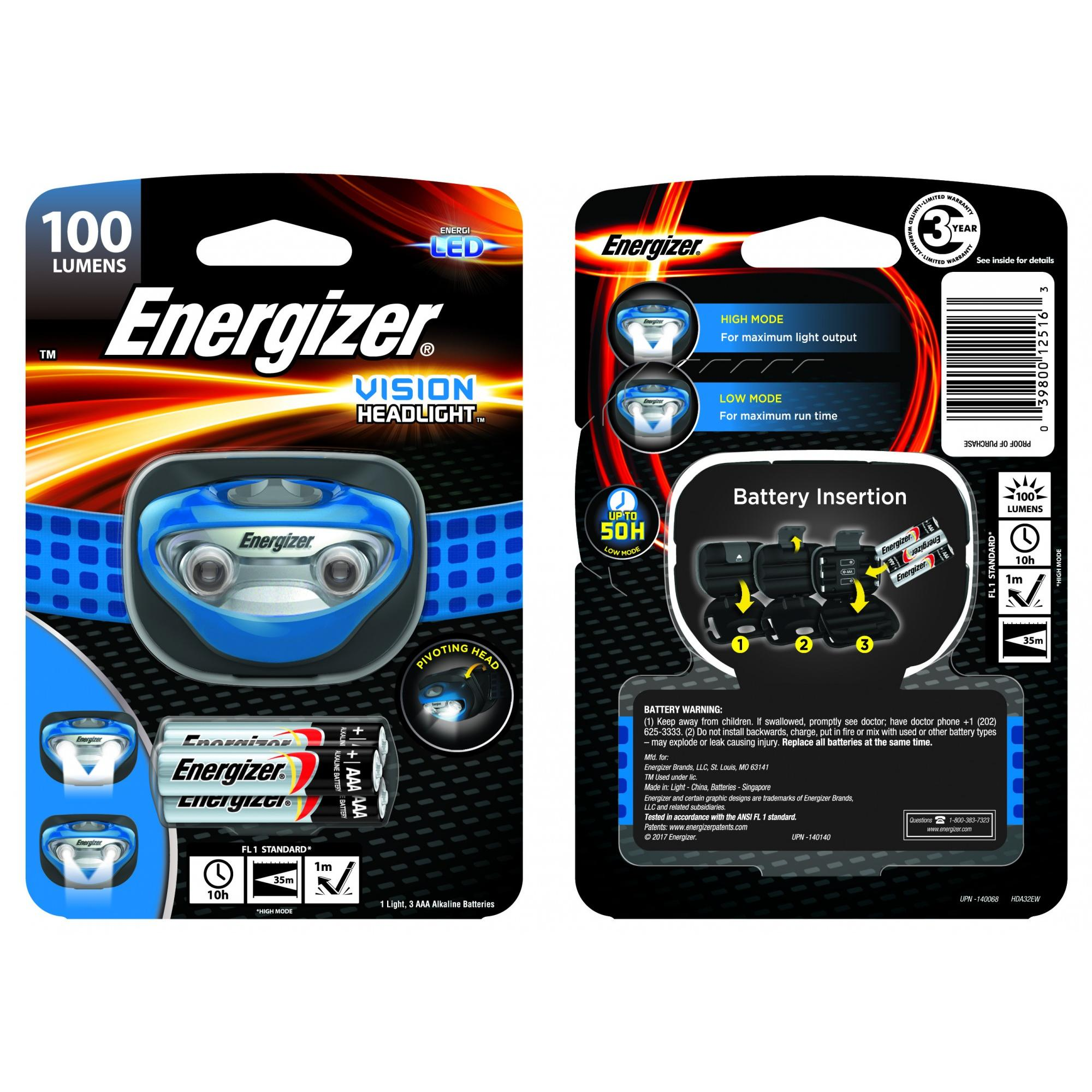 Energizer Vision Headlight (Batteries Included)