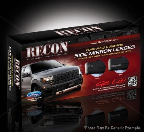 Recon 264240CL Ford F150 & RAPTOR Side Mirror Lenses 2Pc Set Clear Lens