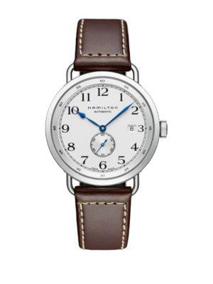 Khaki Navy Pioneer Auto Stainless Steel & Leather Strap Velvet Watch